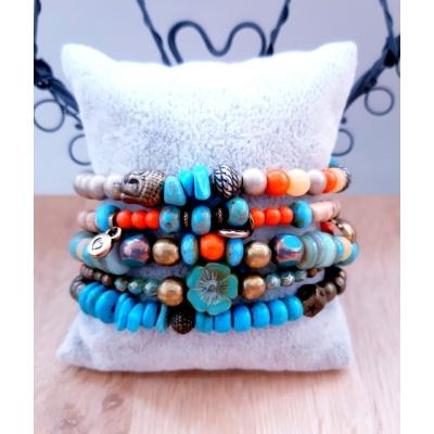 Ibiza armband turquoise/ oranje