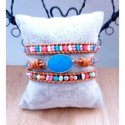 ibiza stijl wikkelarmband turquoise blauw