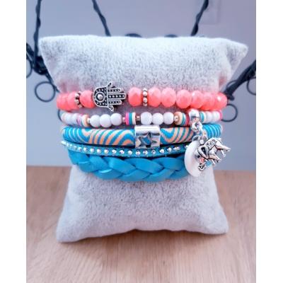 ibiza armband flamingo/turquoise