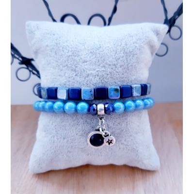 armband setje in blauwtinten