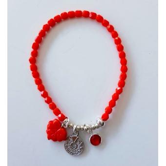 rood facet glaskraal armbandje met bedels