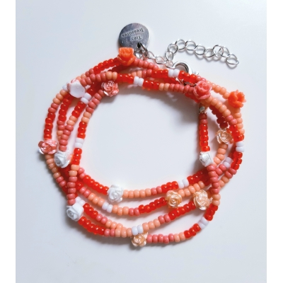 miyuki wikkelarmband in warm rood