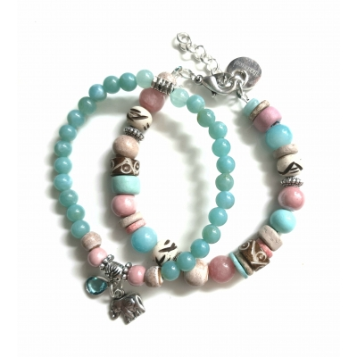 pastel armbanden set roze/ zacht turquoise