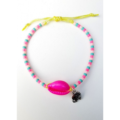schelpen armbandje fel roze