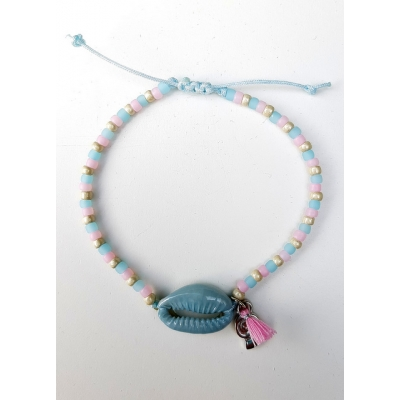 schelpen armbandje grijsblauw