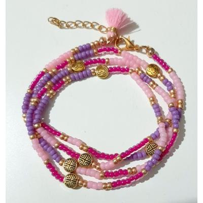 miyuki wikkelarmband roze/ lila/ goud