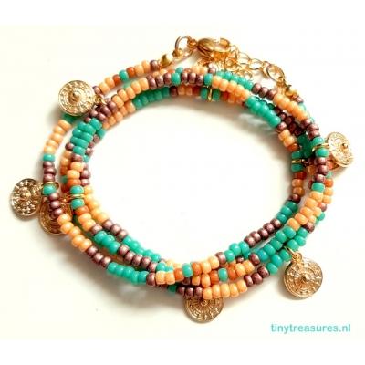 miyuki wikkelarmband turquoise/ goud