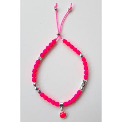 facet kraal armbandje fluor roze