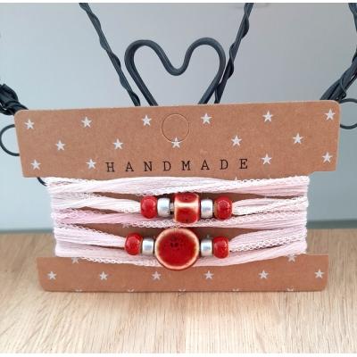 zijden wikkelarmband roze/rood