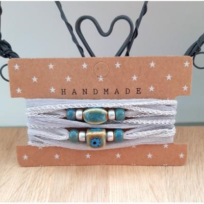 zijden wikkelarmband lichtgrijs/blauwgroen