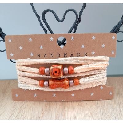 zijden wikkelarmband  peach/brique