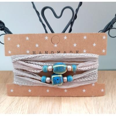 zijden wikkelarmband taupe/blauw