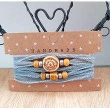 zijden wikkelarmband grijsblauw/mosterd