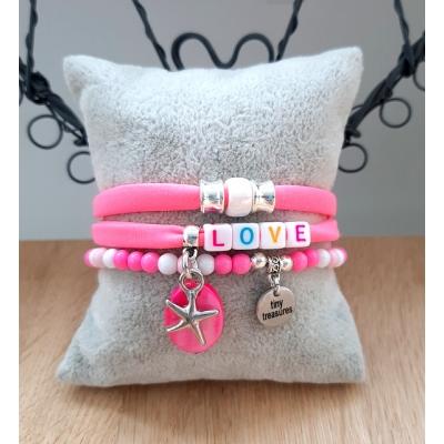 fluor roze armband