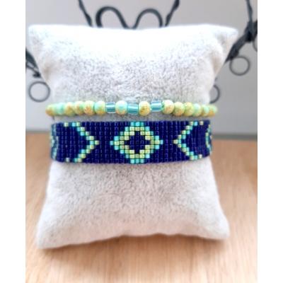 miyuki armband in donkerblauw/ turquoise