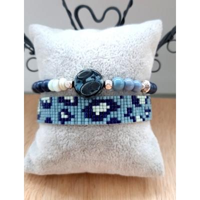 miyuki panter armband  blauwgrijs