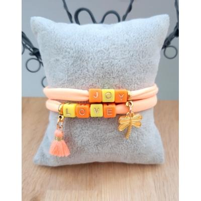 armband van elastisch ibizakoord in peach