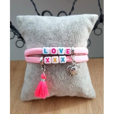 armband van elastisch ibiza koord in roze