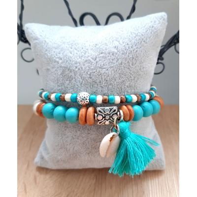 beige met turquoise armband