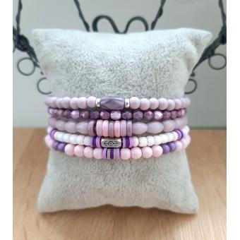 lila / roze armbanden set
