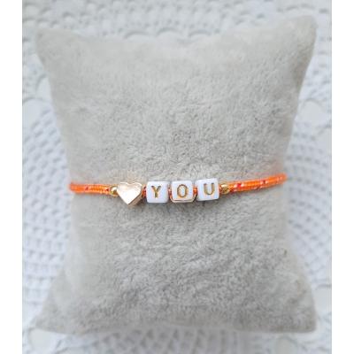 i love you armbandje oranje