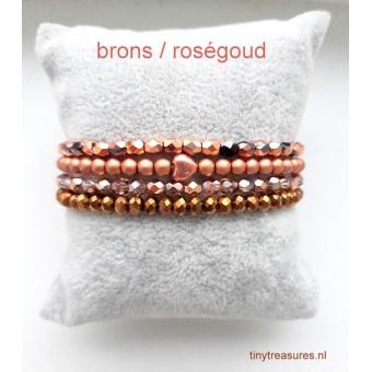 armbanden set in brons / roségoud