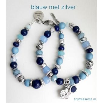 armband in blauw en zilver
