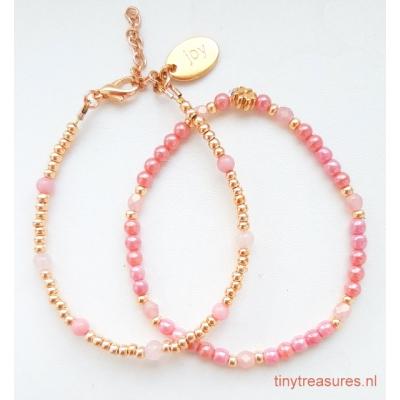 armbandsetje roségoud/ roze