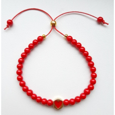 hartjes armband rood / goud