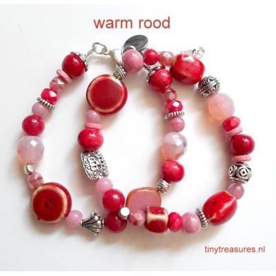 bohemien armband in warm rood