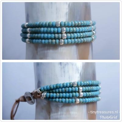 kralenarmband in turquoise blauw/ zilver