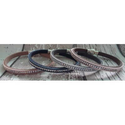 Strass armband rosé/bruin